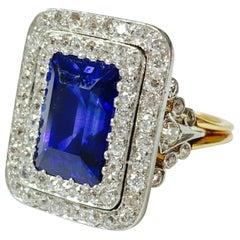 Tiffany & Co. 1900s Gubelin Certified Burma Blue Sapphire and Diamond Ring