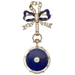 Tiffany & Co. 1910 Gold Diamond and Enamel Lapel Watch
