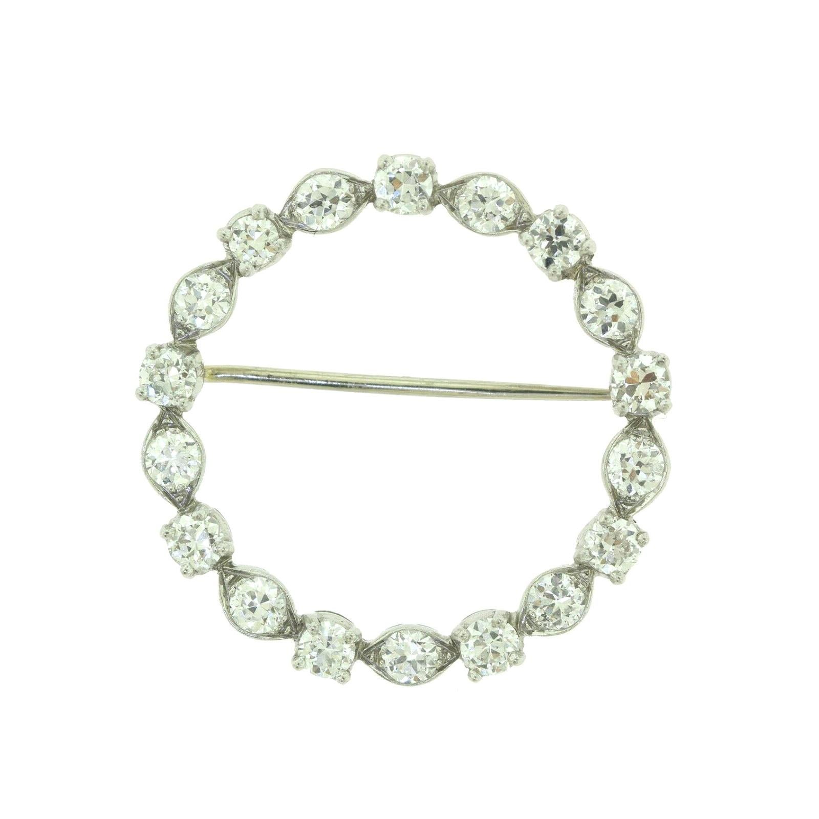 Tiffany & Co. 1920 Art Deco Platinum Round Diamond Brooch Pin