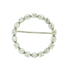 Tiffany & Co. 1920 Art Deco Platinum Round Diamond Brooch Pin