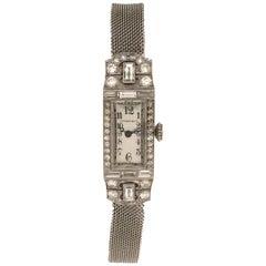 Tiffany & Co. 1920s Art Deco Ladies Platinum and Diamond Bracelet Wristwatch
