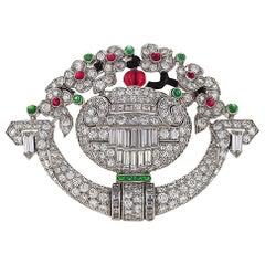 Tiffany & Co. 1920s Art Deco Ruby Emerald Diamond Watch Brooch