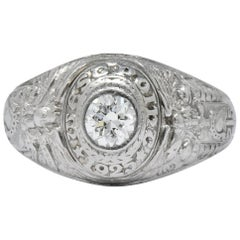 Tiffany & Co. 1925 Diamond Platinum West Point Class Unisex Ring