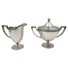 Tiffany & Co. 1928 Sterling Silver Creamer and Sugar Bowl Set in Art Deco Style