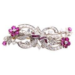 Tiffany & Co 1940s Diamond Ruby Palladium Double Clip Brooch