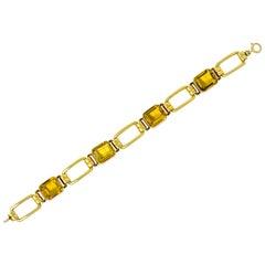 Tiffany & Co. 1940s Retro 32.00 Carat Citrine 14 Karat Gold Link Bracelet
