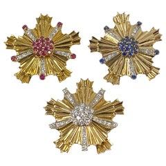 Tiffany & Co. 1940s Retro Patriotic Gold and Gem Stone Clip Brooches