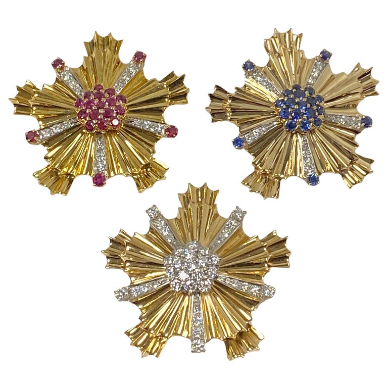 Tiffany & Co. 1940s Retro Patriotic Gold and Gem Stone Clip Brooches For Sale