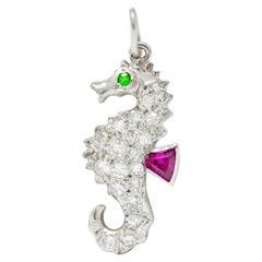 Tiffany & Co. 1950s Diamond Demantoid Garnet Ruby Platinum Seahorse Charm