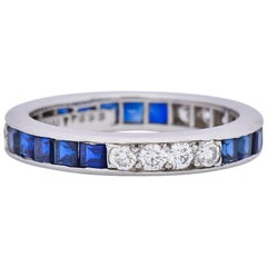Tiffany & Co. 1950s Retro 1.42 Carat Diamond Sapphire Platinum Eternity Band