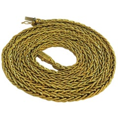 Tiffany & Co. 1950s Timeless Extra Long Gold Woven Motif Chain Necklace