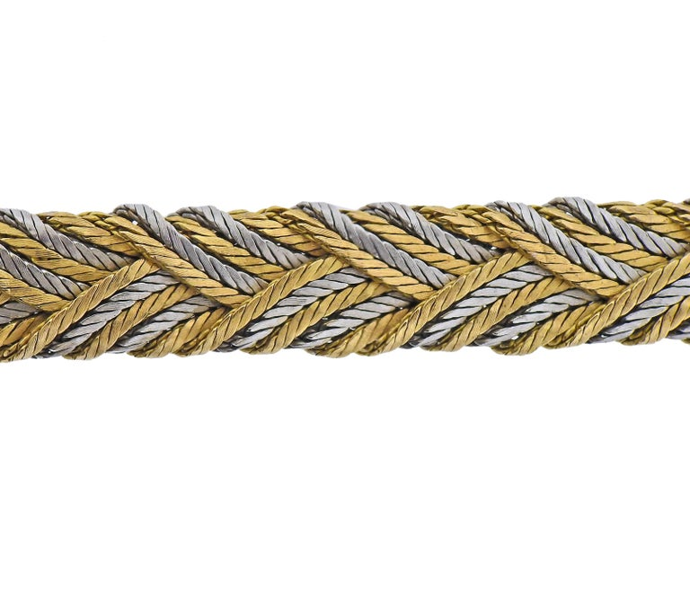 1960s 18k white and yellow gold woven bracelet by Tiffany & Co. Bracelet is 7.5