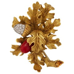 Tiffany & Co. 1960s Coral Diamond Acorn Floral Brooch Yellow Gold Platinum