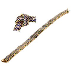 Tiffany & Co. 1960s Gold Blue Green Enamel Bracelet and Pin Set