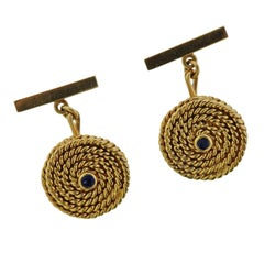 Tiffany & Co. 1960s Gold Sapphire Woven Cufflinks