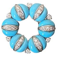 Tiffany & Co 1960s Turquoise Blue Enamel Diamond Wreath Brooch White Yellow Gold