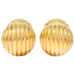 Tiffany & Co. 1960s Vintage 14 Karat Gold Ridged Ball Men's Cufflinks