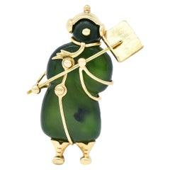 Tiffany & Co. 1960's Vintage Nephrite Jade 14 Karat Gold Snowman Brooch