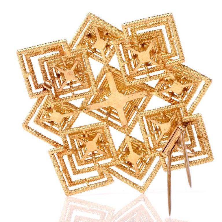 Tiffany & Co. 1970s 18 Karat Gold Pyramidal Lapel Pin Brooch Pendant For Sale 1
