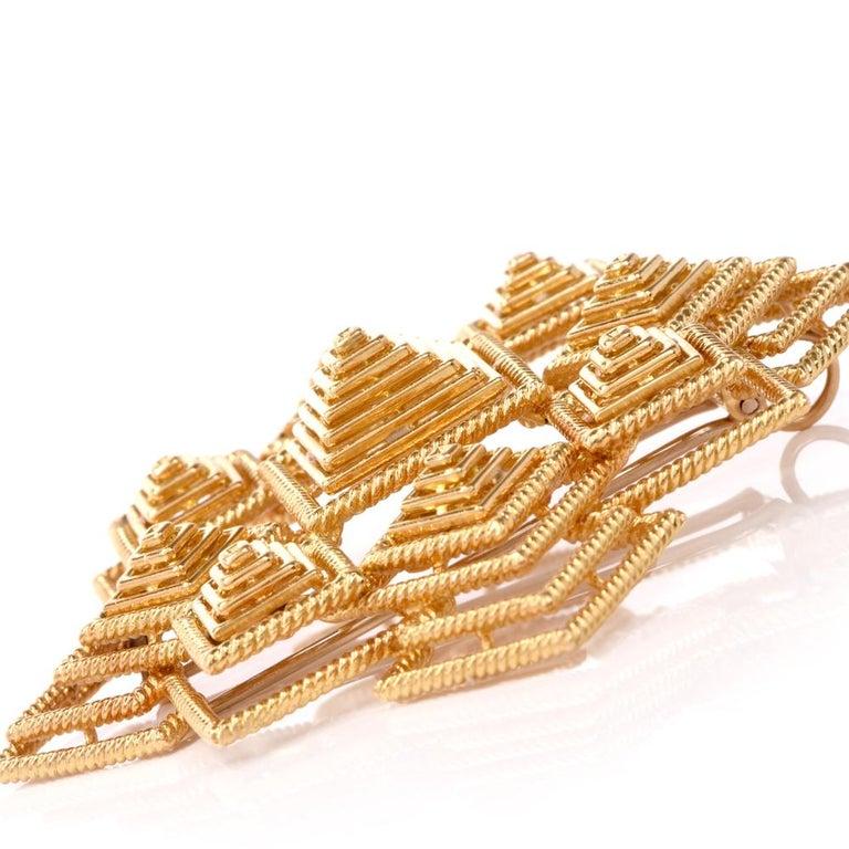 Tiffany & Co. 1970s 18 Karat Gold Pyramidal Lapel Pin Brooch Pendant For Sale 2