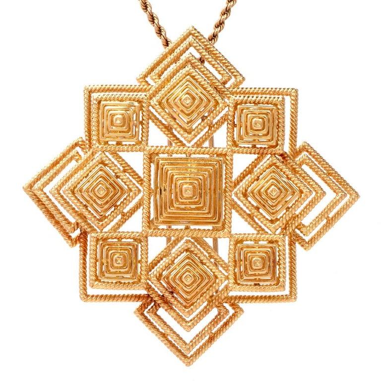 Tiffany & Co. 1970s 18 Karat Gold Pyramidal Lapel Pin Brooch Pendant For Sale