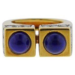 Tiffany & Co. 1970s Gold Lapis Diamond Ring