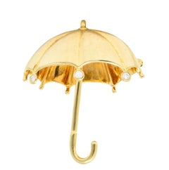 Tiffany & Co. 1980s 0.18 Carat Diamond 18 Karat Gold Umbrella Brooch