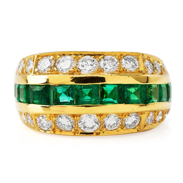 Modern Tiffany & Co 1980's Diamond Emerald 18K Gold Ring For Sale