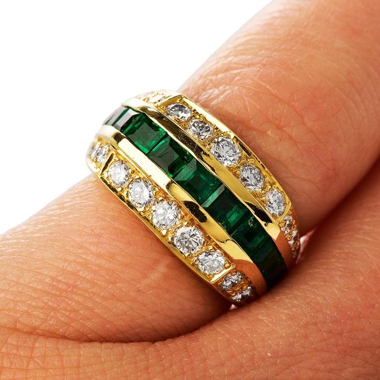 Tiffany & Co 1980's Diamond Emerald 18K Gold Ring For Sale 1