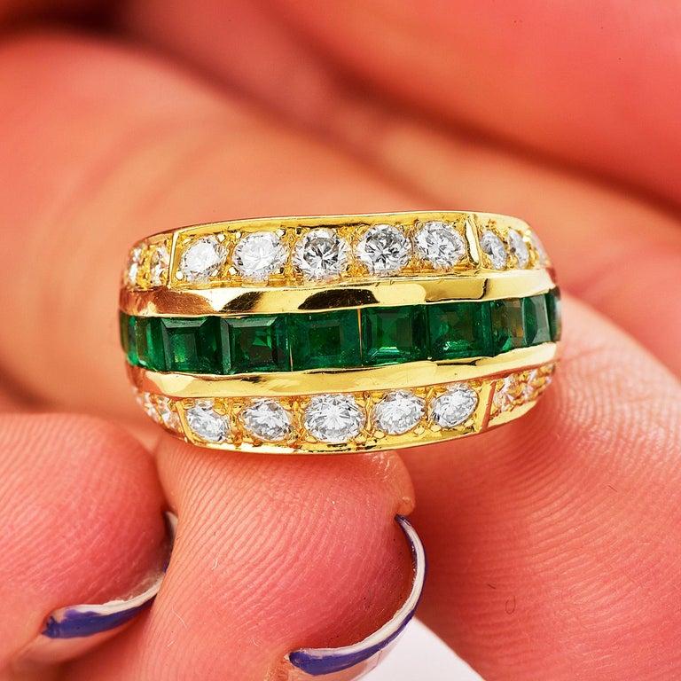 Tiffany & Co 1980's Diamond Emerald 18K Gold Ring For Sale 2