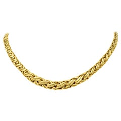 Tiffany & Co. 1980s Vintage 18 Karat Gold Wheat Chain Collar Necklace