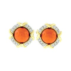 Tiffany & Co. 1985 18k Gold & Platinum GIA Round Coral & Diamond Button Earrings