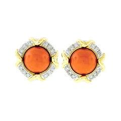 Tiffany & Co. 1985 18k Gold & Platinum GIA Round Coral & Diamond Button Earrings