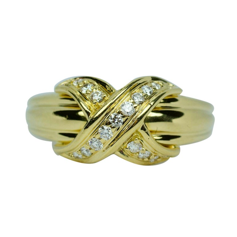 Tiffany & Co. 1990 18k Yellow Gold X Shape Round White Diamond Ring For Sale