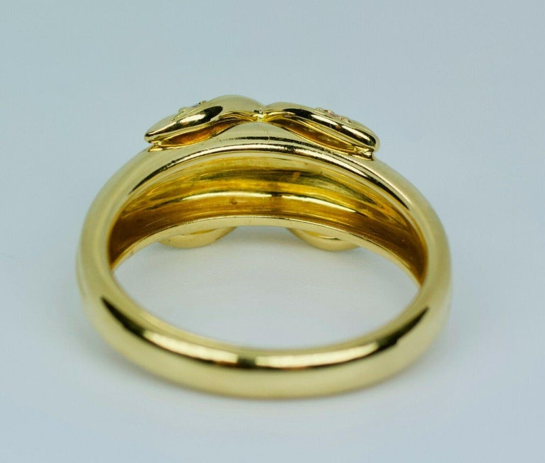 Tiffany & Co. 1990 18k Yellow Gold X Shape Round White Diamond Ring For Sale 2