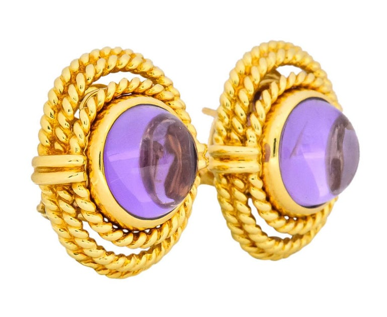Contemporary Tiffany & Co. 1990 Amethyst 18 Karat Gold Earrings For Sale