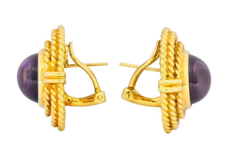 Women's or Men's Tiffany & Co. 1990 Amethyst 18 Karat Gold Earrings For Sale