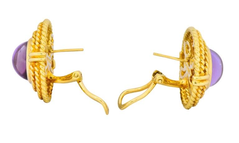 Tiffany & Co. 1990 Amethyst 18 Karat Gold Earrings For Sale 1