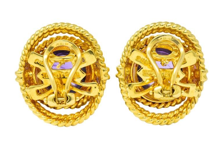 Tiffany & Co. 1990 Amethyst 18 Karat Gold Earrings For Sale 2