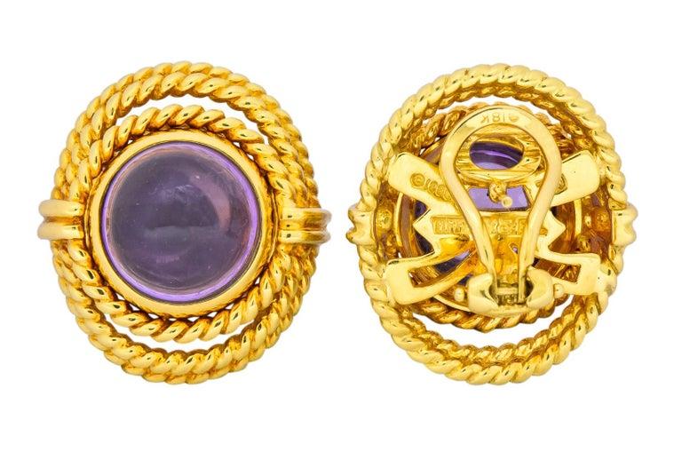 Tiffany & Co. 1990 Amethyst 18 Karat Gold Earrings For Sale 3