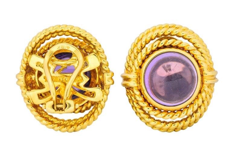 Tiffany & Co. 1990 Amethyst 18 Karat Gold Earrings For Sale 4