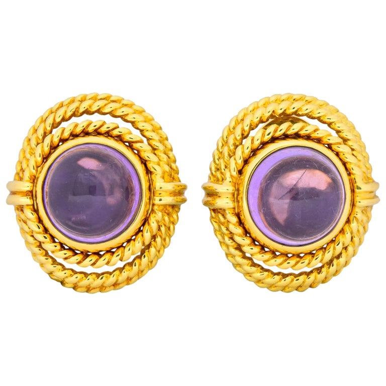 Tiffany & Co. 1990 Amethyst 18 Karat Gold Earrings For Sale