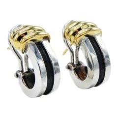 Tiffany & Co. 1995 Atlas 18k Yellow Gold Sterling Silver Huggie Earrings