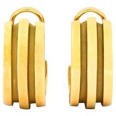 Tiffany & Co. 1995 Vintage 18 Karat Gold Atlas Ear-Clip Earrings