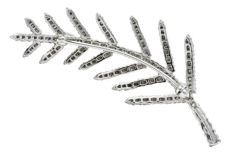 Round Cut Tiffany & Co. 1996 3.50 Carat Diamond Platinum Branch Leaf Brooch For Sale