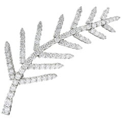 Tiffany & Co. 1996 3.50 Carat Diamond Platinum Branch Leaf Brooch