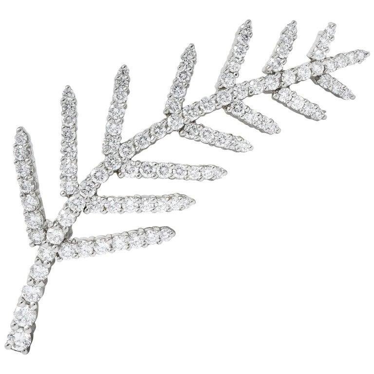 Tiffany & Co. 1996 3.50 Carat Diamond Platinum Branch Leaf Brooch For Sale