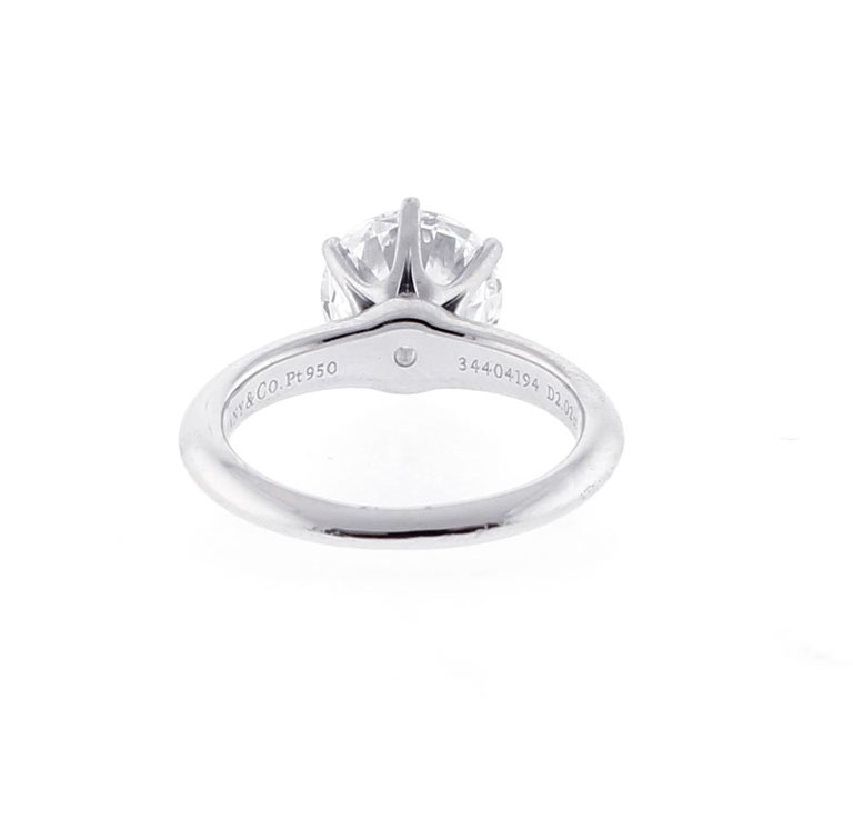 Round Cut Tiffany & Co. 2 Carat Diamond Solitaire Ring For Sale