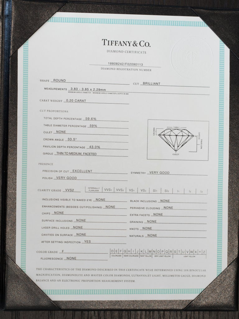 Tiffany & Co. .20 Carat Platinum Engagement Ring For Sale 6