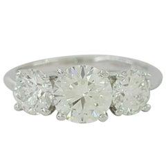 Tiffany & Co. 2.04 Carat Platinum 3-Stone Round Diamond Engagement Ring